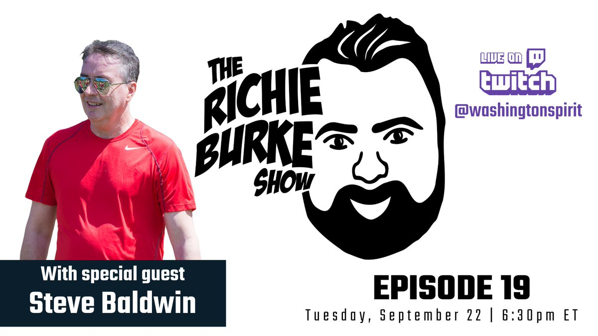 Tomorrow, Owner Steve Baldwin joins The Richie Burke Show to talk about how the Spirit and @NWSL have continued to move forward during COVID-19. Watch on Twitch at 6:30pm: twitch.tv/washingtonspir…