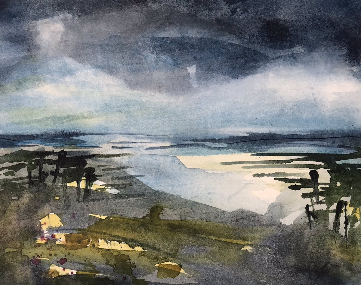Back to working with my favourite watercolours today #watercolour #painting #landscape #northnorfolk  #norfolkcoast https://t.co/7drbhdQ5Jc