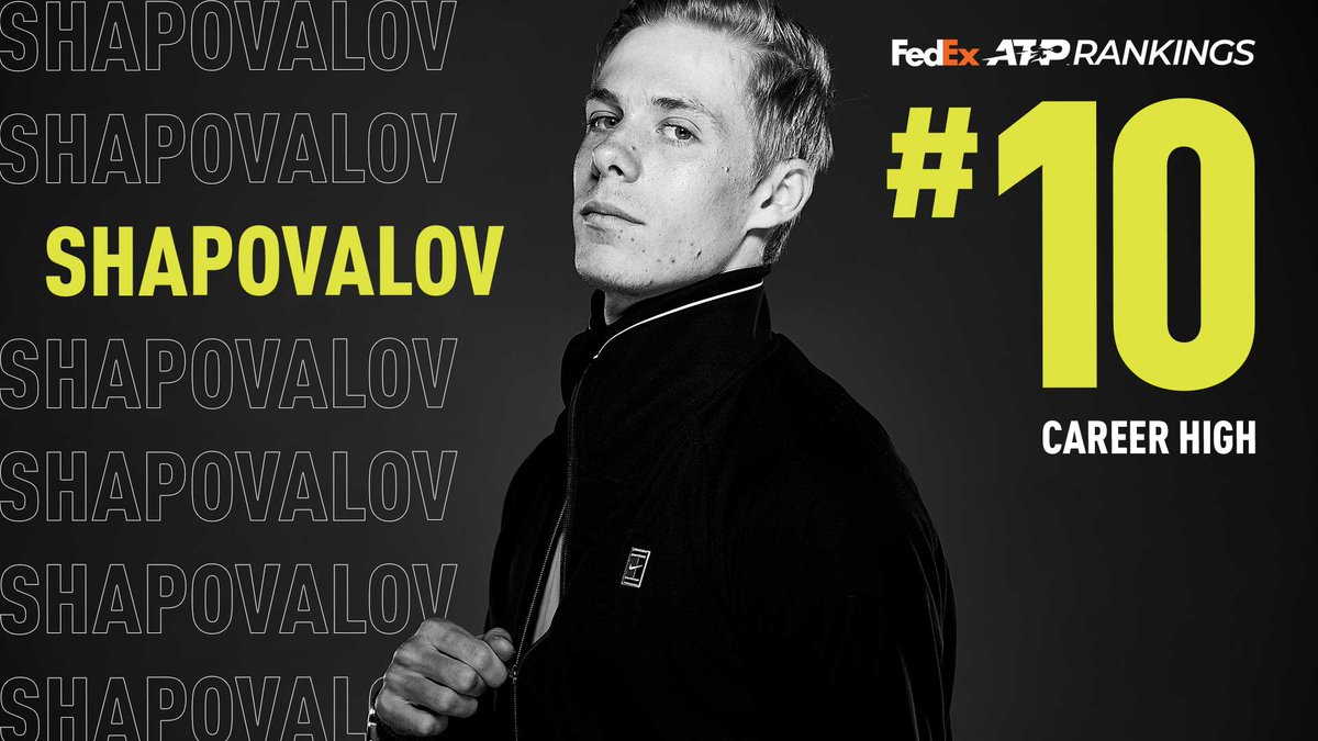 Welcome to the Top 🔟!   @denis_shapo becomes the second 🇨🇦 man to achieve this @FedEx ATP Rankings milestone 👏 https://t.co/qpHJMq66zu