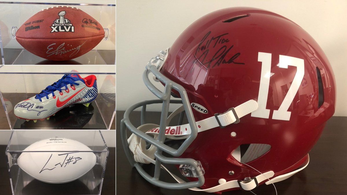 Whose ready for some football? How about celebrating with memorabilia from some of football's MVPs AND help families tackling childhood cancer!   Browse the auction here: https://t.co/jTPIKRH8fA  @EliManning  @TeamVic  @Lj_era8 @AlabamaFTBL  & more!  #MNF #NOvsLV @ESPNNFL https://t.co/8LhsihduI9