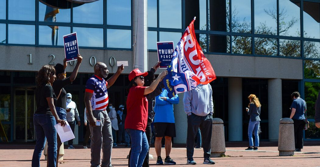 T@#$% Supporters Disrupt Early Voting in Virginia nyti.ms/3ci6N2K How is this even allowed?