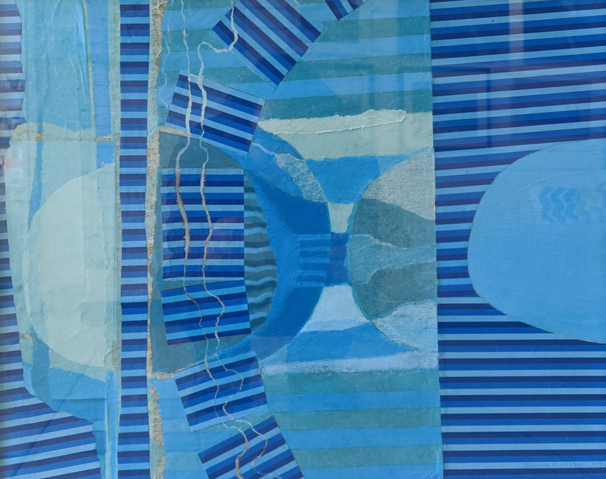 """""""Fusion in Blue"""" by David Ralston - tissue paper & acrylic. Part of the 70th Anniversary exhibition by the Saddleworth Group of Artists. #artexhibition #artcollector #contemporaryart #saddlworth #artist #artistsontwitter #enjoyart https://t.co/PRu57zTHmn"""