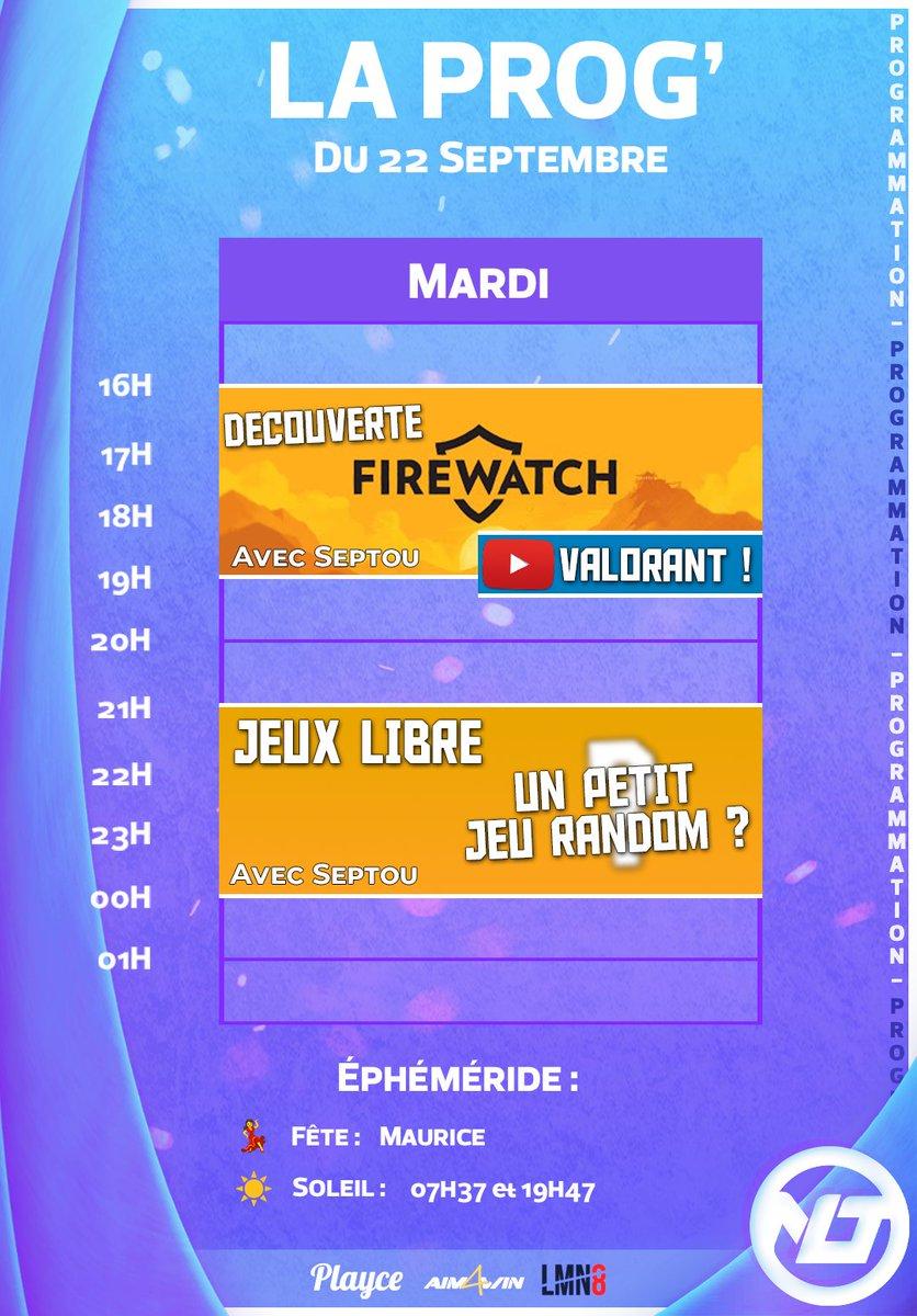 Bonjour à tous et Bon Mardi ! 👋  Au #planning : Vidéo #YT sur #Valorant à 18h15 ! 🎬  #Firewatch, enfin ?🏕️  Et on fini la journée avec du petit jeu libre ! 🔍  #NELESTAWIN https://t.co/MMPWITTljQ