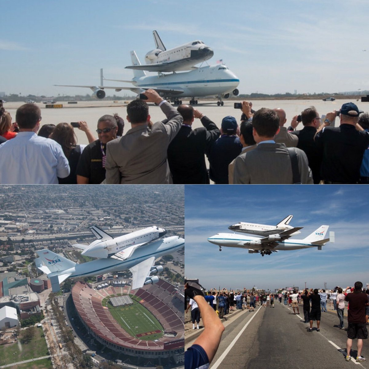 Wow! #Endeavour landed at LAX atop the Shuttle Carrier Aircraft (SCA) 8 yrs ago after a busy day of flying over CA! Where did YOU #SpotTheShuttle? Share your pics and tag us! #Mission26 #timeflies #onthisday #otd #partofhistory @NASA @NASAJPL @flyLAXairport @VisitCA @lacoliseum https://t.co/0OCiDm692I