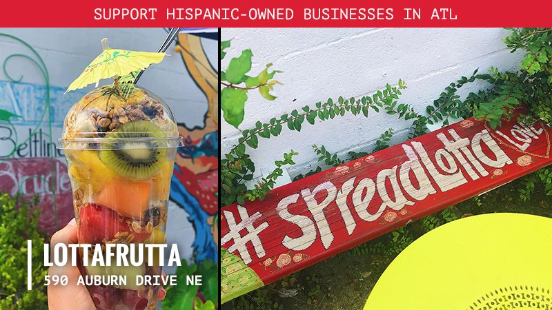 Feeling up for something fruity? 🍉 🍊🍍 @LottaFrutta is ATL's only fruteria and our first business spotlight for #HispanicHeritageMonth. Visit them in the Old Fourth Ward for a refreshing smoothie, a fruit bowl or homemade helado!🍦 https://t.co/f11ekp265H