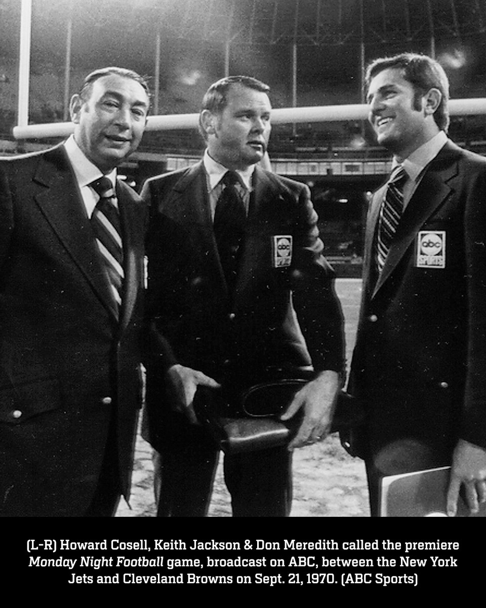 Monday Night Football, sports television's longest-running series, debuted on @ABCNetwork 50 years ago today with Howard Cosell, Keith Jackson & Don Meredith on the call  Check out some behind-the-scenes photos from the inaugural #MNF broadcast  📸 ABC Photo Archives https://t.co/w4GmuE61K7