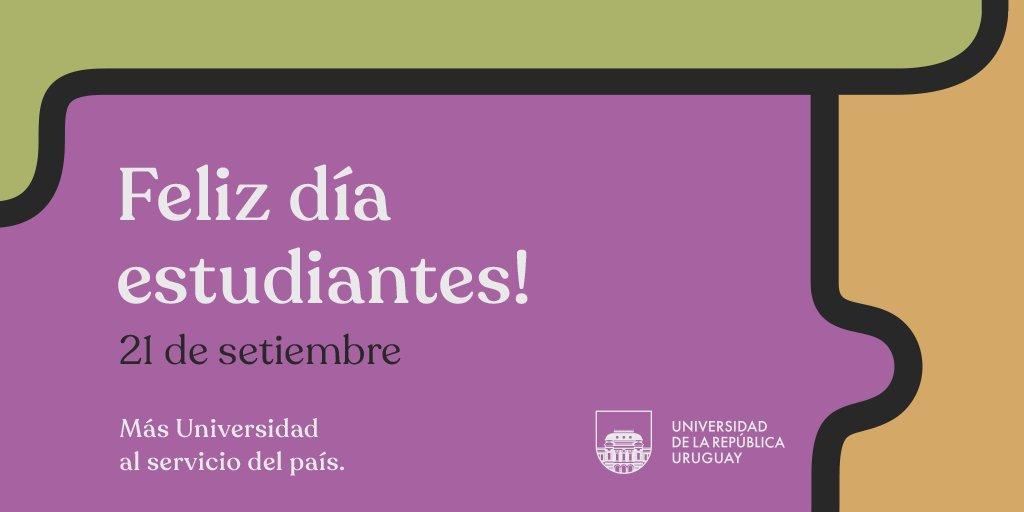 ➡️ Feliz día estudiantes!  #Udelar --> #MásUniversidadAlServicioDelPaís https://t.co/De5FaNuWLS