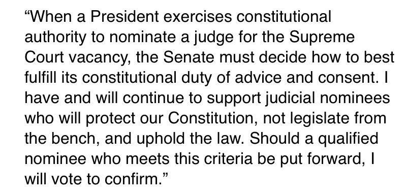 """SEN. CORY GARDNER: """"Should a qualified nominee who meets this criteria be put forward, I will vote to confirm."""" https://t.co/VkOpM4nP7H"""