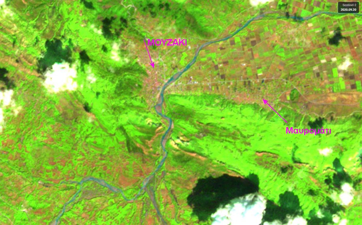 To #Μουζάκι και η γύρω πληγείσα περιοχή μετά τις πλημμύρες της 18ης Σεπτεμβρίου 2020. Η καταγραφή έγινε το μεσημέρι της Κυριακής 20 Sept 2020 από τον περιβαλλοντικό δορυφόρο #Sentinel2 του προγράμματος @CopernicusEMS . Περισσότερα την Τρίτη από το @News247gr