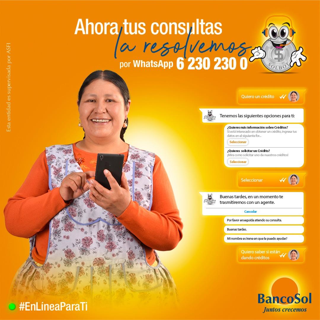¡Ahora ya puedes contactarnos por Whatsapp!  Realiza tu consulta al 62302300 y resolveremos cualquier duda. Estamos disponibles las 24 horas del día, 7 días a la semana.  Juntos crecemos #BancoSol  #EnLíneaParaTi #VamosAEstarBien https://t.co/htJoEWIpOC