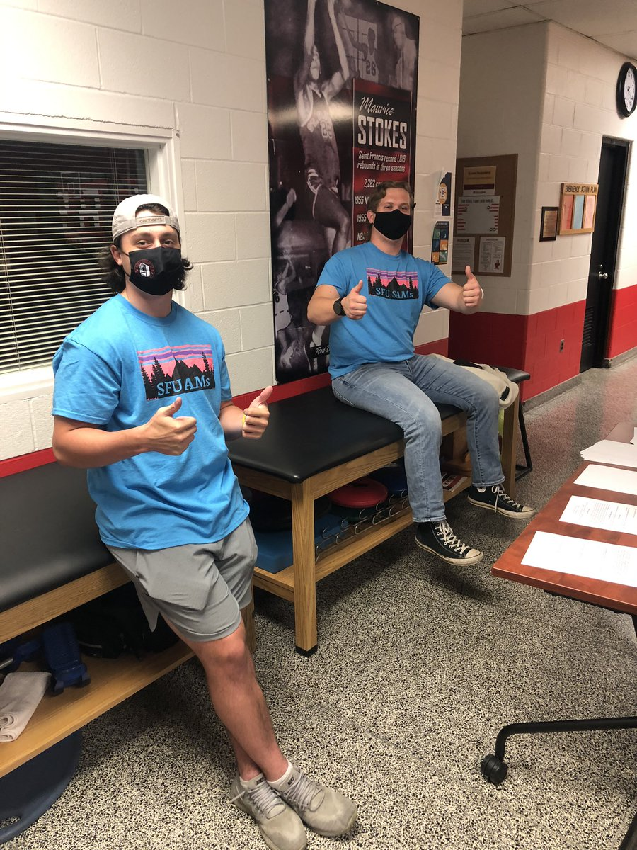 Paul and Kyle are ready for tonight's Drug and Alcohol Education SAM Jam for the Freshmen student-athletes!   #MasksOn and social distancing in full effect!   #SamIam #PeerToPeerEducation https://t.co/f2yblL1uBy
