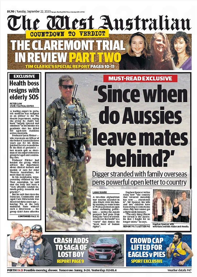 'Since When Do Aussies Leave Mates Behind?' Digger stranded with family overseas pens powerful open letter to country ~ @lanai_scarr  #frontpagestoday #Australia #TheWestAustralian #buyapaper 🗞 https://t.co/V1gGWjZ0Tq