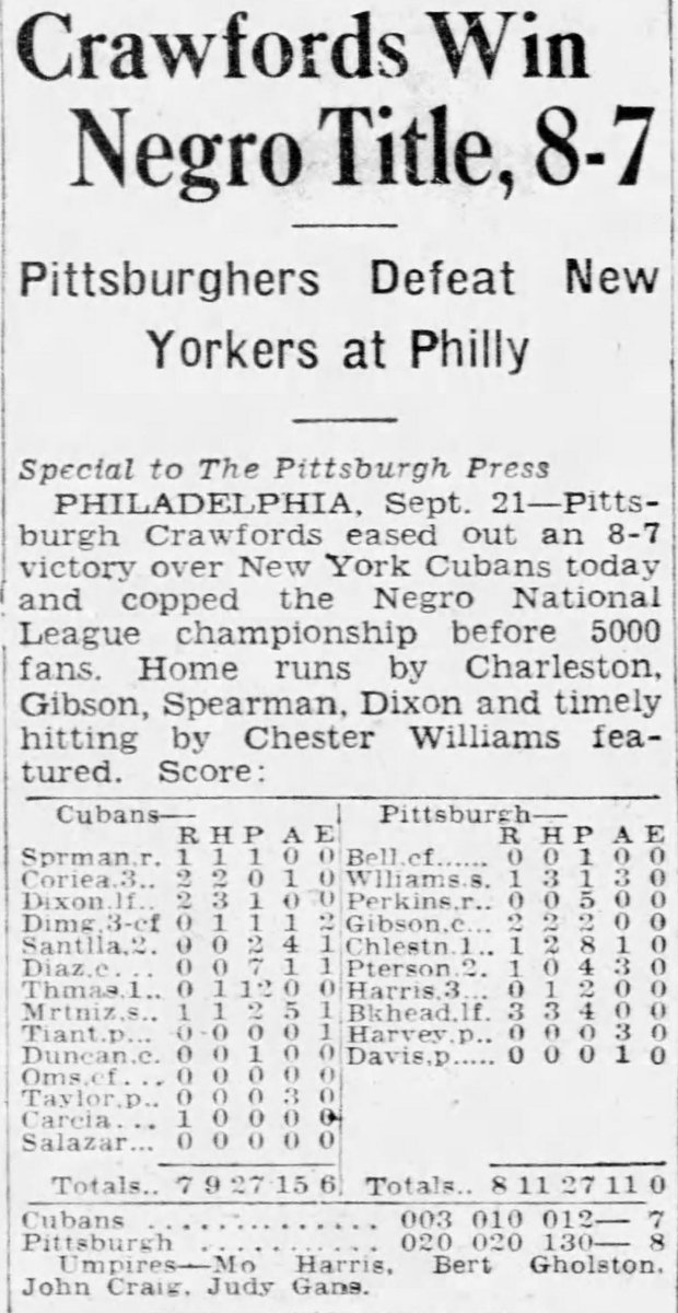 On Sept. 21, 1935, the Pittsburgh Crawfords claimed the Negro National League title with an 8-7 win over the NY Cubans in Game 7. A day earlier in Game 6, Oscar Charleston hit a walk-off, 3-run HR in a dramatic 7-6 victory. @nlbmprez @JoshGibson_1911 #NegroLeagues100 https://t.co/gCgnprD23S