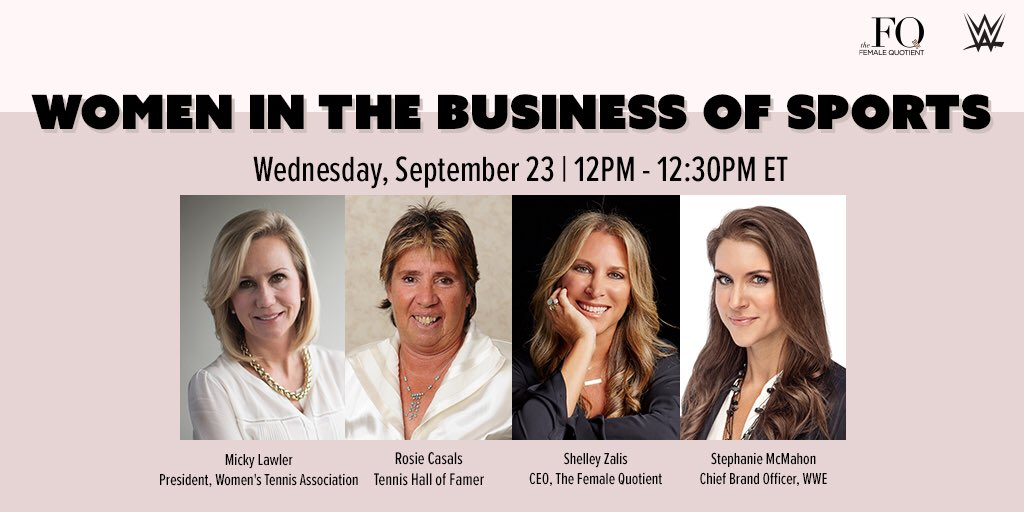 """Women in the Business of Sports"" w/ @femalequotient is back this Wednesday! Celebrate the 50th anniversary of the #Original9's demand for equality in women's sports with guests @WTA's @MickyLawler & tennis legend Rosie Casals. Register now: https://t.co/9Uzw6UJ3KK #womeninsports https://t.co/Ioq3eMmdpF"