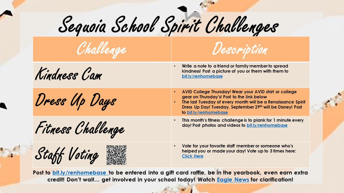 It's a month full of school spirit challenges! Which one are you doing first?! #SchoolSpirit #Yearbook #Raffle #WeAreSequoia #LoveRenaissance https://t.co/z0QCzSCQZZ