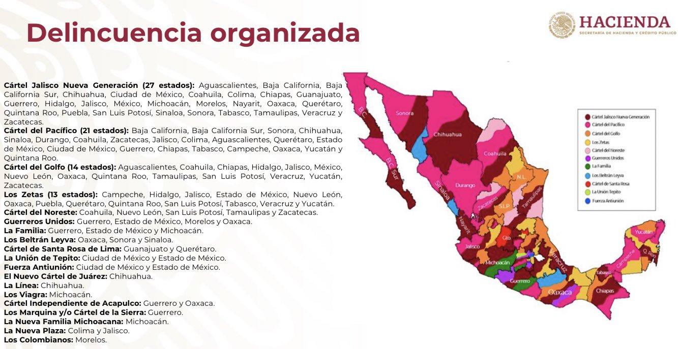 mapa de los cárteles del narco en méxico