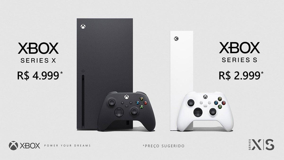 Xbox Series X: R$ 4.999* Xbox Series S: R$ 2.999* *Preços sugeridos   O lançamento oficial do #XboxSeriesX e #XboxSeriesS no Brasil será em novembro de 2020. No entanto, não teremos a pré-venda na data global, 22/09. Em breve compartilharemos mais detalhes. Fiquem ligados! https://t.co/4mSWBGNlYO