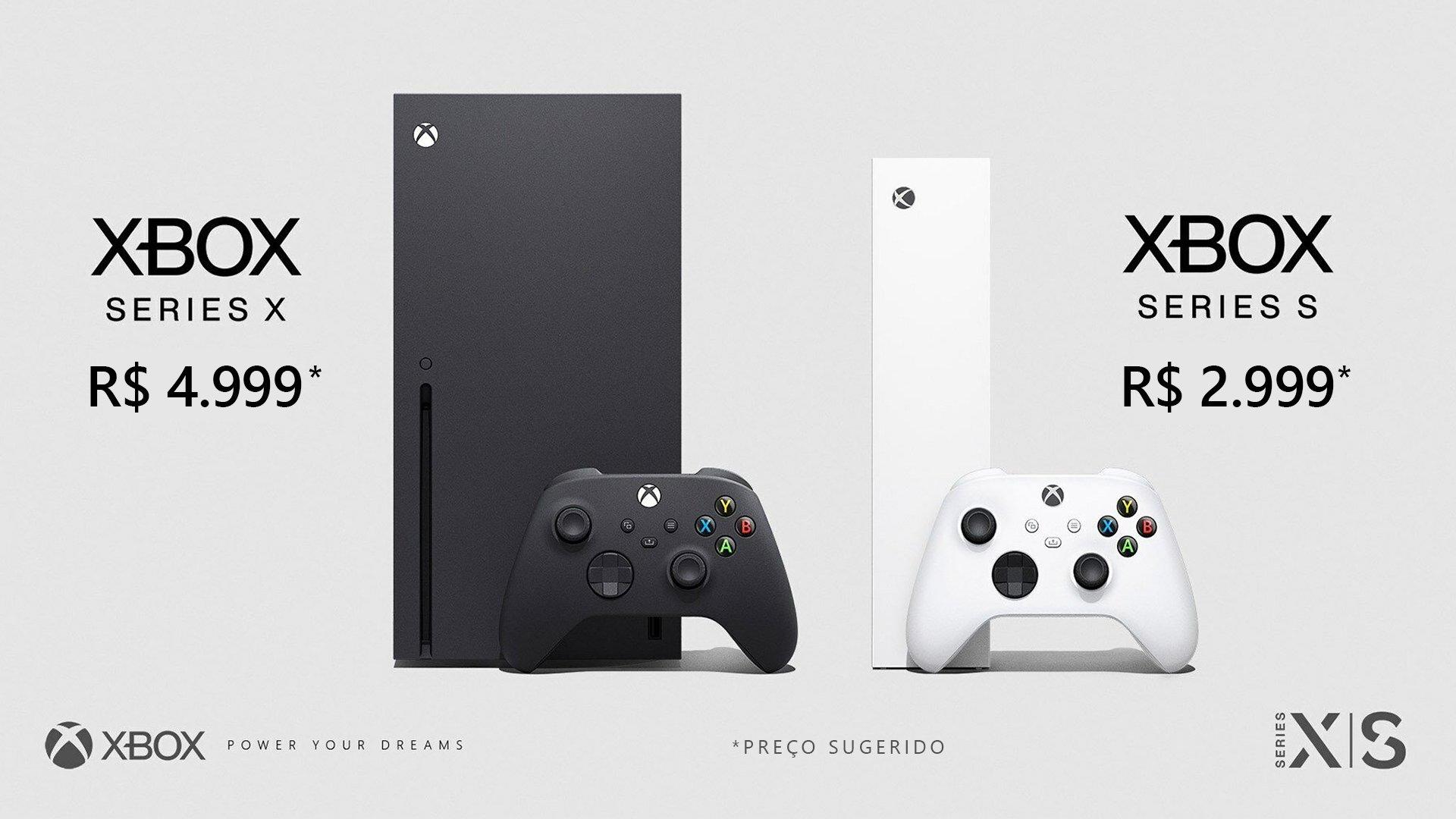 """Imagem com consoles Xbox Series X e texto """"R$ 4.999"""" e imagem do console Xbox Series S com o texto """"R$ 2.999"""" Preços sugeridos."""
