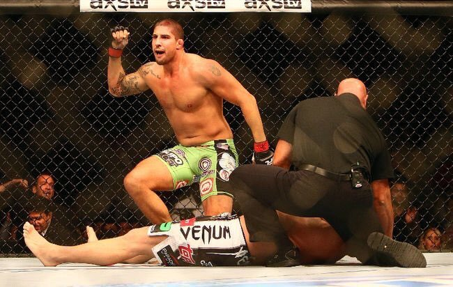 Sep21.2013  Brendan Schaub earns the final victory of his MMA career,  when he puts Matt Mitrione to sleep with a D'Arce choke https://t.co/x2iiMGsJoT