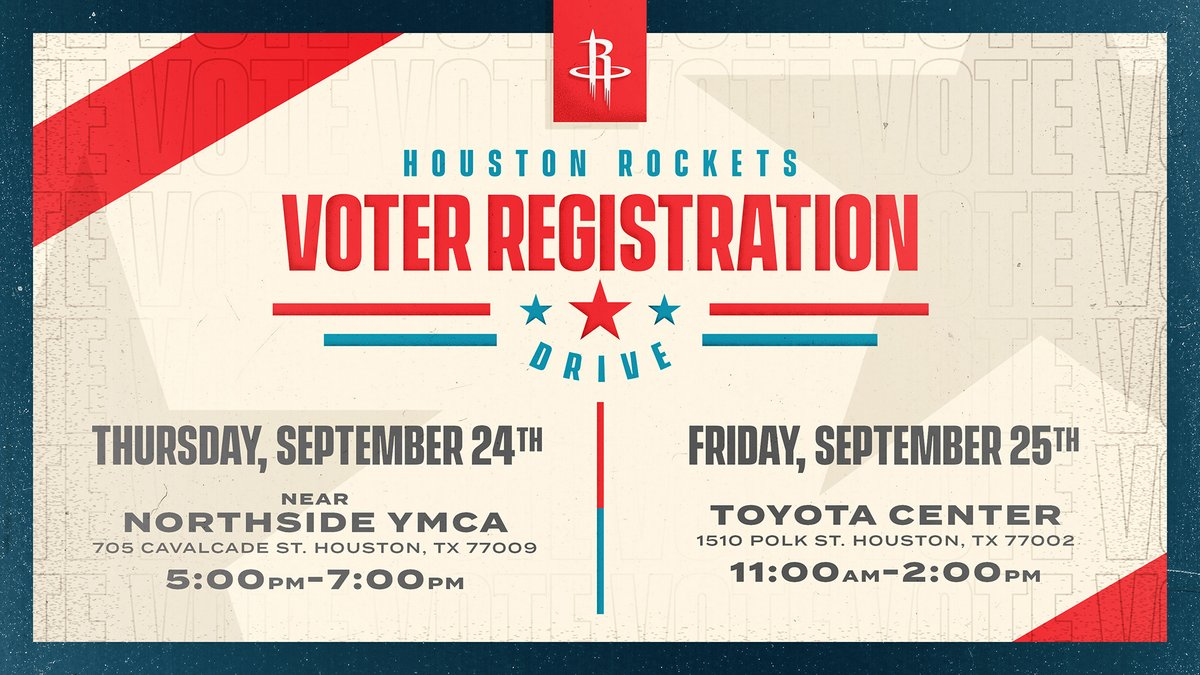We are conducting two voter registration drives this week!  Today you can stop by the @YMCAHouston location at 705 Cavalcade Street to register to vote, see @clutchthebear and win some Rockets prizes!  More Info: https://t.co/mdjgqg0k9g https://t.co/7ctHLGhkTP