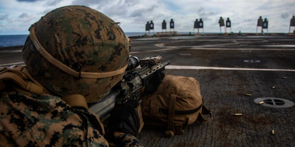 Sea You A Marine with the @31stMeu zeros his M27 Infantry Automatic Rifle during a deck shoot aboard the @USNavys #USSGermantown while operating in the East China Sea as a ready response force to defend peace and stability for a #FreeAndOpenIndoPacific.