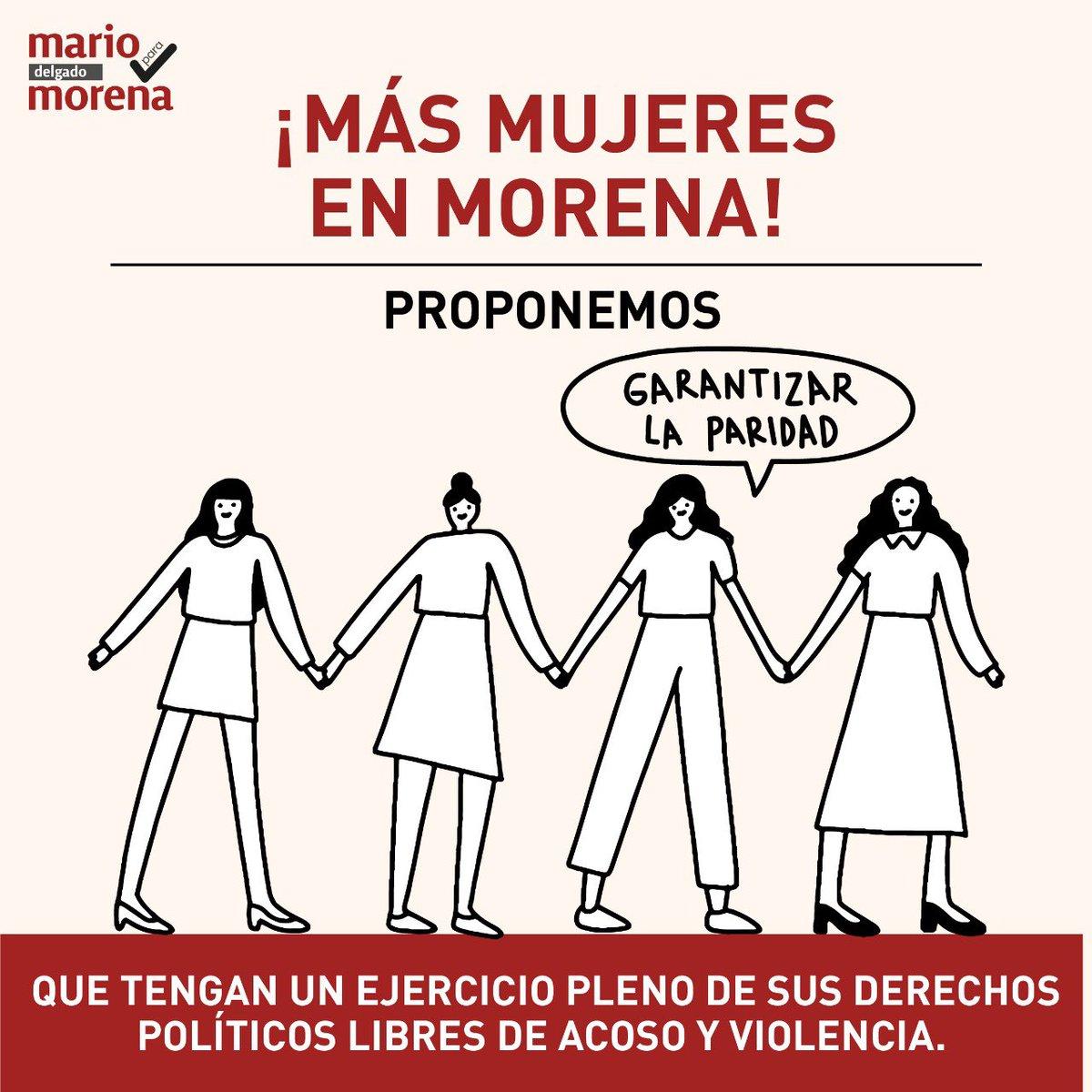 ¡Más mujeres en #Morena! Tenemos que ser el partido que garantice el derecho constitucional a la paridad y que ejerzan sus derechos políticos sin acoso y sin violencia. #ParidadEnTodo https://t.co/9GPOPkCfGS