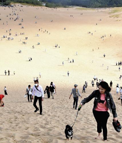 【急増】19日からの4連休、鳥取砂丘が観光客らでにぎわう昨年9月の連休では1日あたり約2000人台だったが、19日は5408人、20日には8815人を記録。周辺では渋滞が発生した。