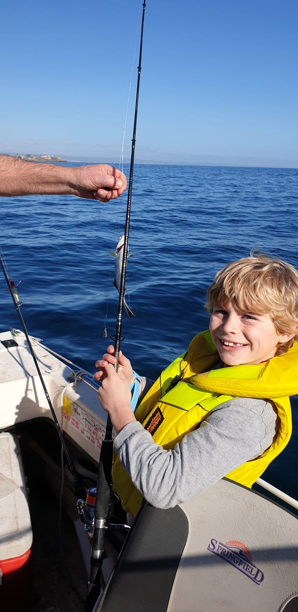Leanne Smith's son caught quite a few sweep at Hallett Cove Beach, South Australia.  First time for him fishing on a boat.  #fishing #fishingaustralia #australianfishing #outdoors #kidsfishing #takeakidfishing #boating https://t.co/kin94Sa1sn