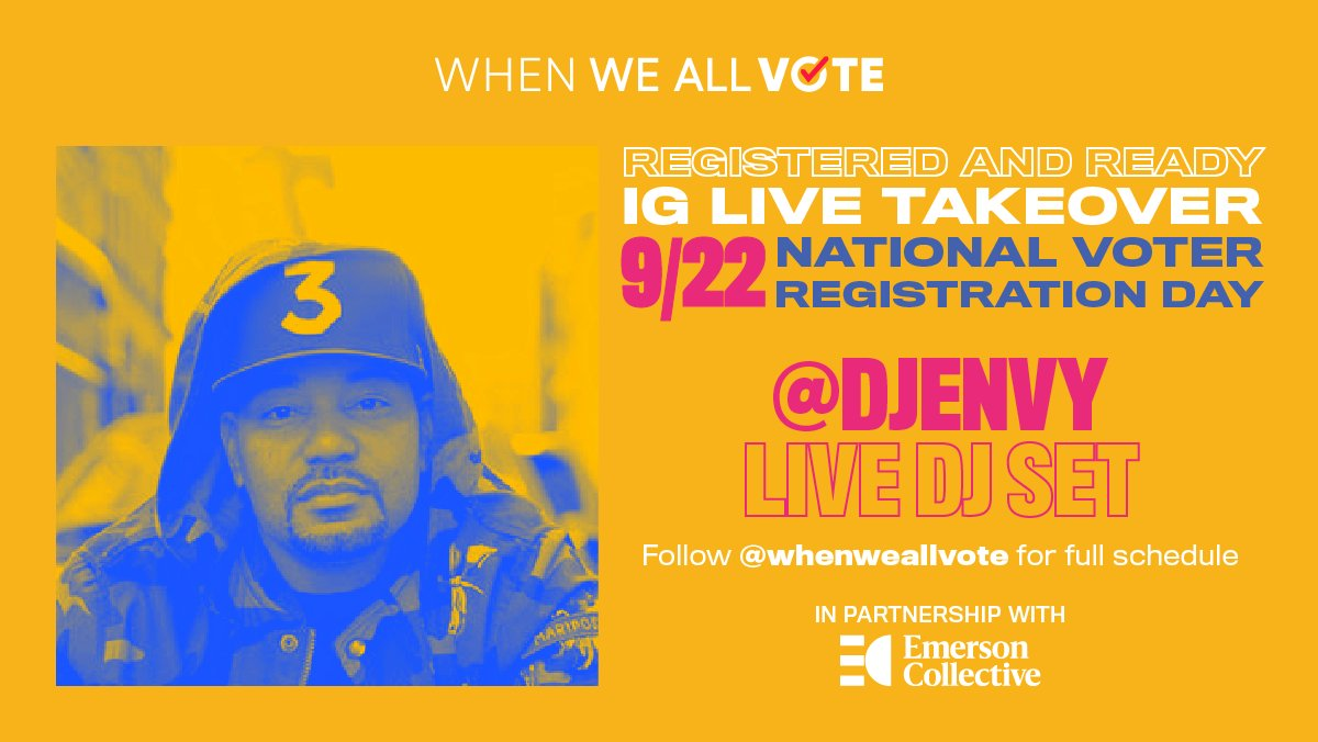 Our first #VoteReady DJ set with @DJEnvy starts in 15 minutes! 🎧 weall.vote/voteready