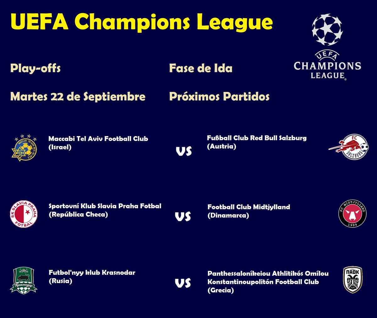 #UCL #Playoffs  #PartidosDeIda   La @ChampionsLeague regresó y comenzamos con la primera parte de los play-offs para ver los últimos, y los juegos de hoy, @MaccabiTLVFC vs @RedBullSalzburg, @slaviaofficial vs @fcmidtjylland y @FCKrasnodar  vs @PAOK_FC serán a las 2:00 p.m. (MEX). https://t.co/H4RsT6bz7w