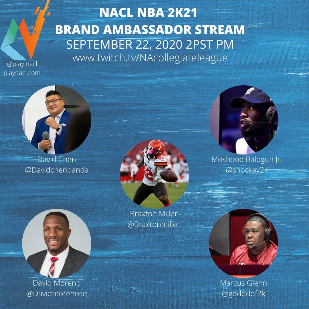 Tomorrow 2pm pacific! Nba 2k stream with  @BraxtonMiller5 @godddof2k @oShockey2k @DavidMorenoEsq & myself! On my Davidchenpanda & @PLAYNACL channel! One viewer will win @mcuban @mikechaffin @three_commas @AStateEsports @ASULeague merch! #2k #2k21 #nba #ohiostate #sports #esports https://t.co/iwj6k2iJcF