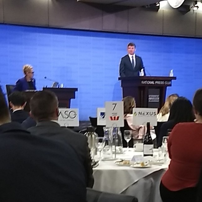 So pleased to at the  #NPC listening to Minister Angus Taylor. And great to share a table with good friends at APPEA.