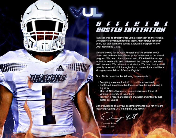 Blessed to receive my first offer from Virginia University of Lynchburg🙏🏾 Go VULS💙 https://t.co/0CfjrhXrOM