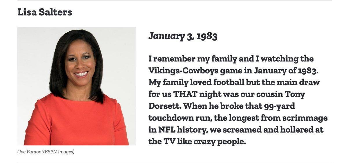 Family memories of watching cousin @Tony_Dorsett on #MNF stand out for @ESPNNFL reporter @saltersl   https://t.co/xfw2MtTS1K https://t.co/httaZDCegQ