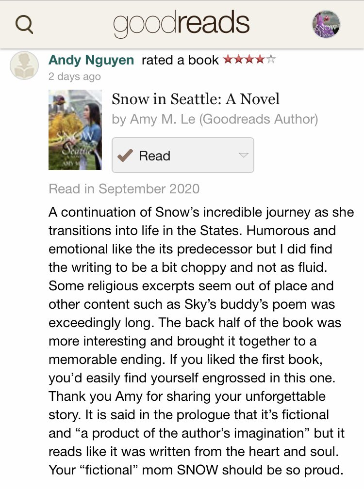 Throughout September, post a review of SNOW IN SEATTLE & be entered into a drawing for a copy of THE MOUNTAINS SING #snowinseattle #bookreview #womensfiction #refugeestories #bipoc #herstory #boatpeople #vietnam #america #freedom #vietnamesediaspora #raffle #historicalfiction https://t.co/TRx3INGexA