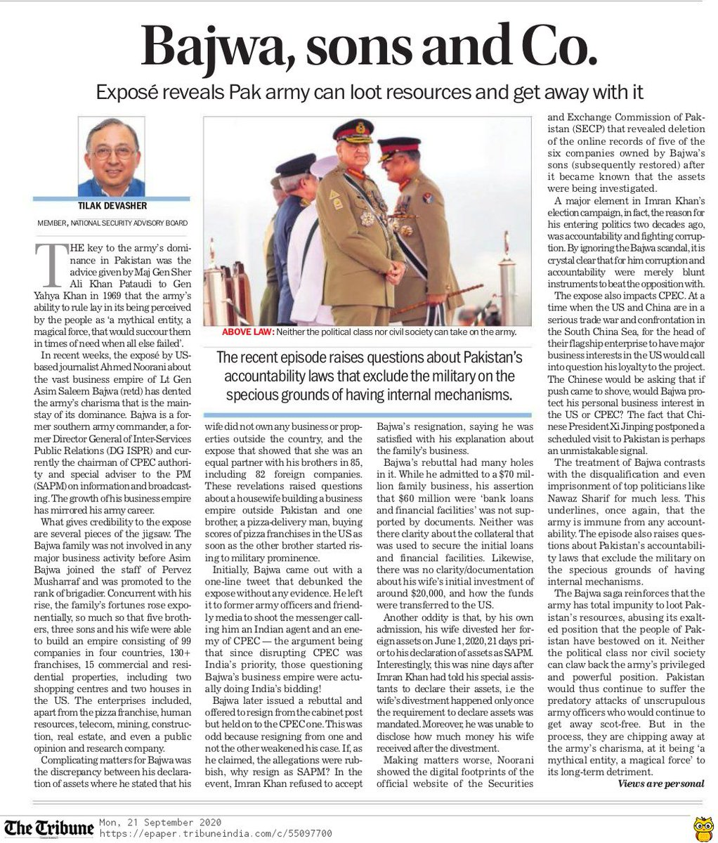 Two interesting opeds yesterday. The first talks about the unearthing of a huge web of corruption of Pakistan Army Chief Bajwa and its implications. The second traces the psychological trauma of Xi Jinping as a young man and its reflections on his politics.