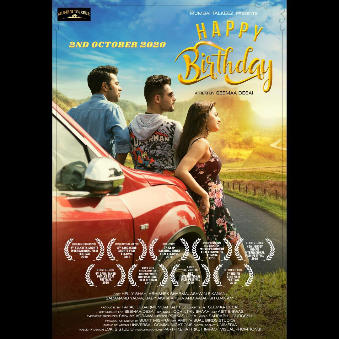 Presenting the trailer of#HappyBirthday short film. The most memorable road trip you will embark on this year! Directed by @seemaadesai  Releases 2nd Oct on @humaramovie @whoisthatlawyer Link:  https://t.co/kmTKE8SLkD ⭐ing @OfficialHelly7 https://t.co/zCdcj2mg6E
