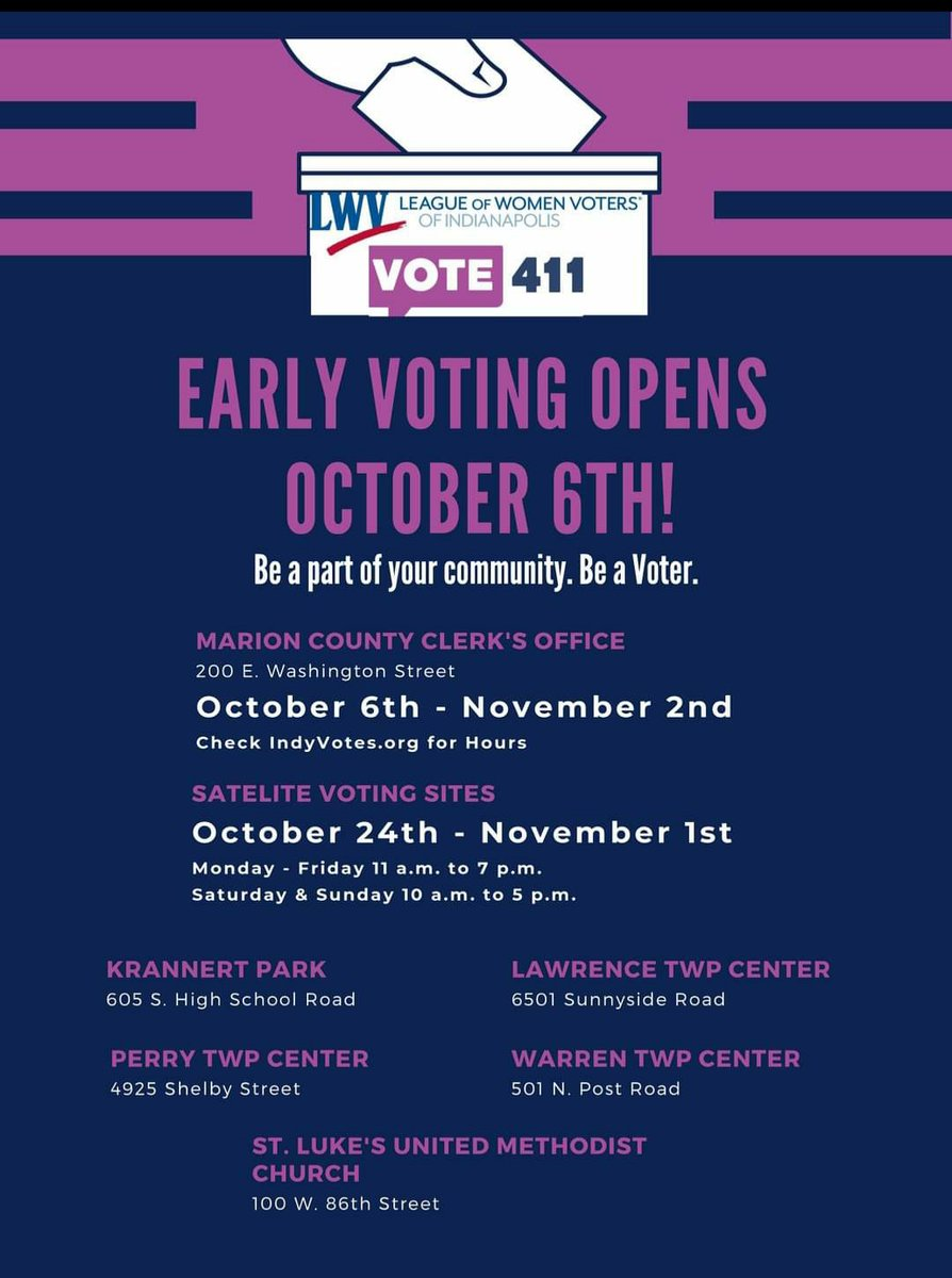 Early Voting Opens October 6th  In Indianapolis.  #VoteEarly #Indianapolis #TeamBidenHarris2020 #BlueWave2020 #JOEMENTUM #ViralPhoto #Equality #Diversity #Unity #StrongerTogether #UnitedWeStand #MrBlackCat1069  #VoteHimOut #DonaldTrump #WomensRights #WorstPresidentInHistory https://t.co/7ljTg74H7C