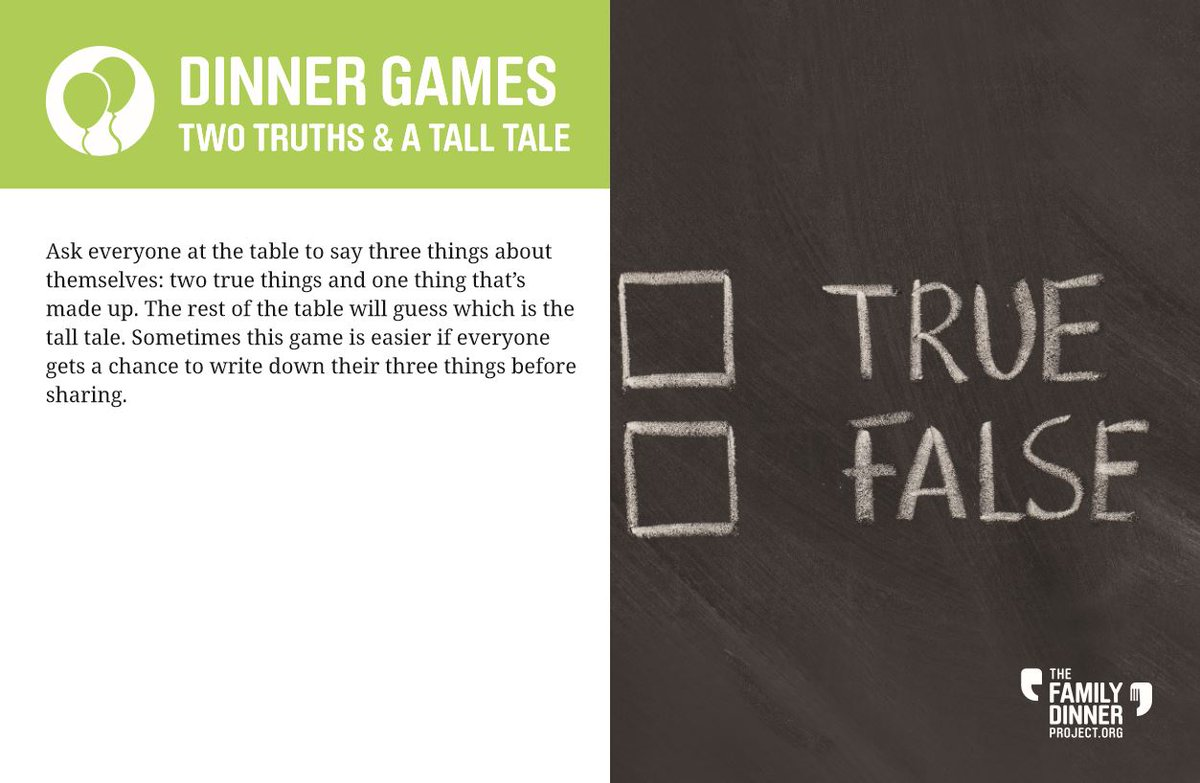 This can be a fun way to learn more about each other! Play Two Truths and a Tall Tale at #familydinner this week and see who tells the best tall tales. #games #dinnergames #activities #parentinginlockdown https://t.co/6m9pUjFWz1