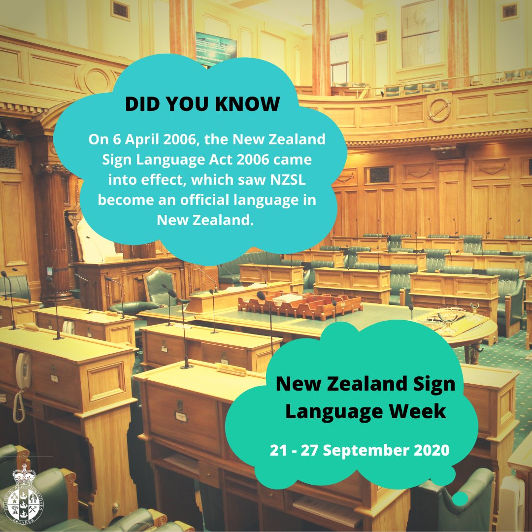This week is New Zealand Sign Language Week. Did you know on 6 April 2006, the New Zealand Sign Language Act 2006 came into effect, which saw New Zealand Sign Language (NZSL) become an official language in New Zealand. https://t.co/KHZPvcA6Jh