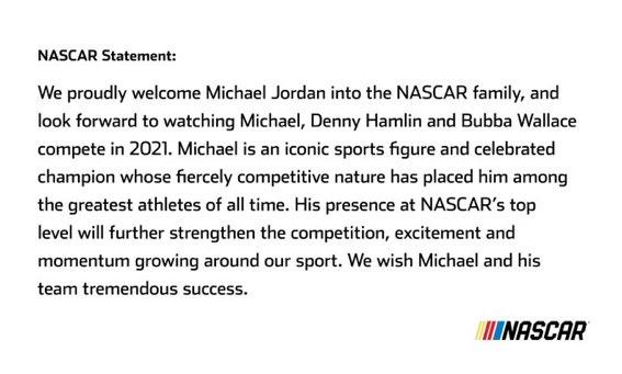 WELCOME TO @NASCAR, @Jumpman23!! #AIRJORDAN23!! 🏀🏎💨🏁 https://t.co/aLnjkK2HSh