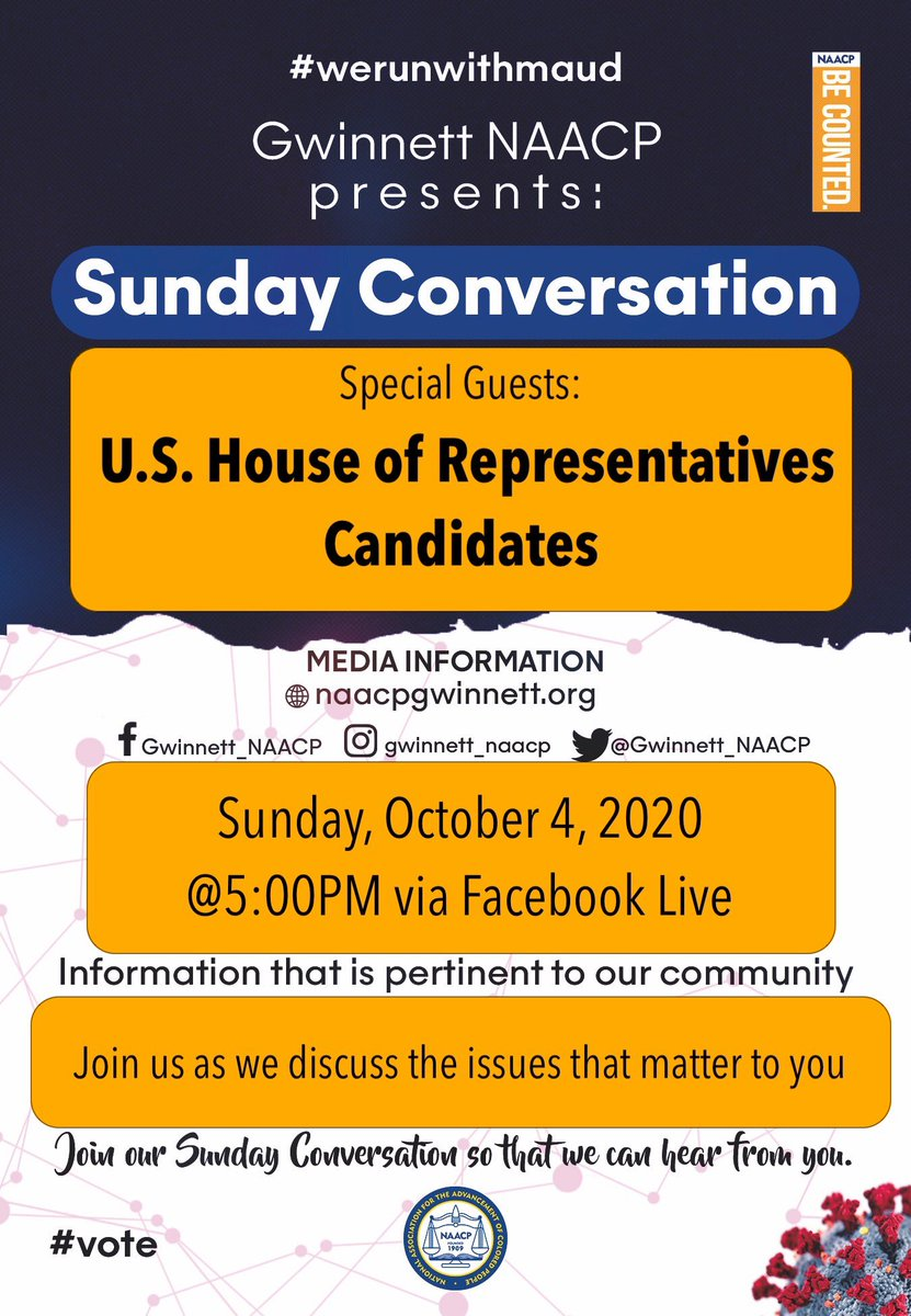 Join us as we speak to candidates for congressional districts 4, 7 and 10. #Gwinnett #GAPol ⁦@JodyHice⁩ #NAACP https://t.co/rGByfrGuAy