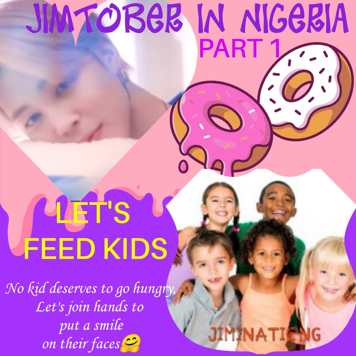 JIMTOBER IN NIGERIA PROJECT🇳🇬 PART 1  LET'S FEED KIDS Help put smile on the faces of children as we feed them during Jimtober.  Let's extend the love we learmt from Jimin to kids🤗🤗💪  No amount is too little🥺  You can help us donate here🤲; https://t.co/ocKGT3oRre  Thank you🥺 https://t.co/A9zmPCfETM