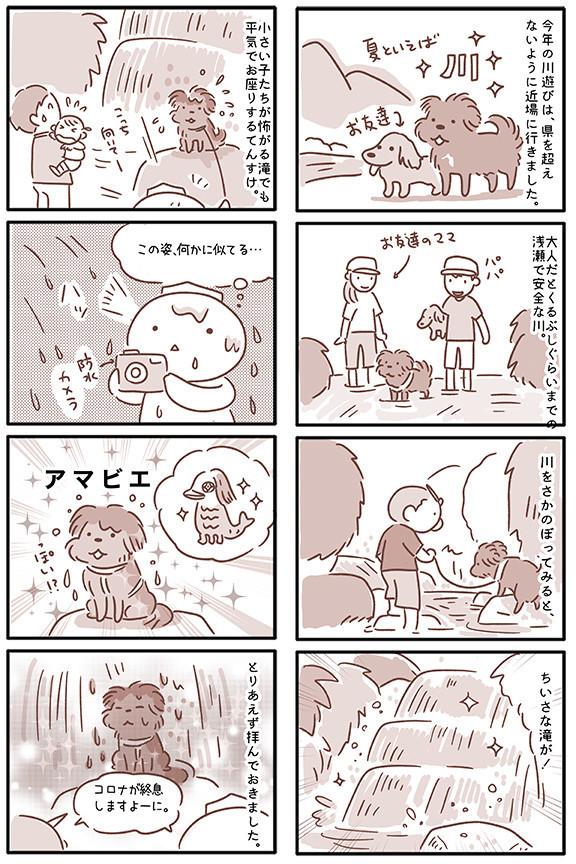 """川遊びする犬が、ありがたい妖怪に見えてきて…… """"アマビエみたいなワンコ""""漫画が拝んでしまうかわいさ"""