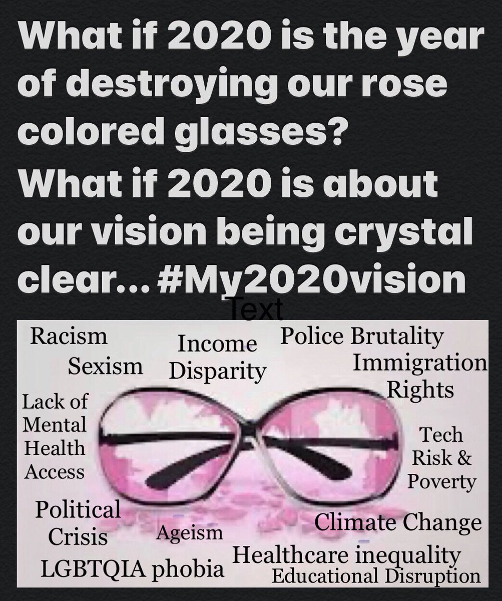 What broke your rose colored glasses in 2020? What is now crystal clear for you? #My2020vision was..#SWTech #MacroSW #2020worstyear #ClimateChange #BlackLivesMatter #metoo #AcademicTwitter #whitefragility #COVID19 #immigration #LGBTQIA #APA #UniversalBasicIncome #AcademicChatter https://t.co/94y5UQWWei