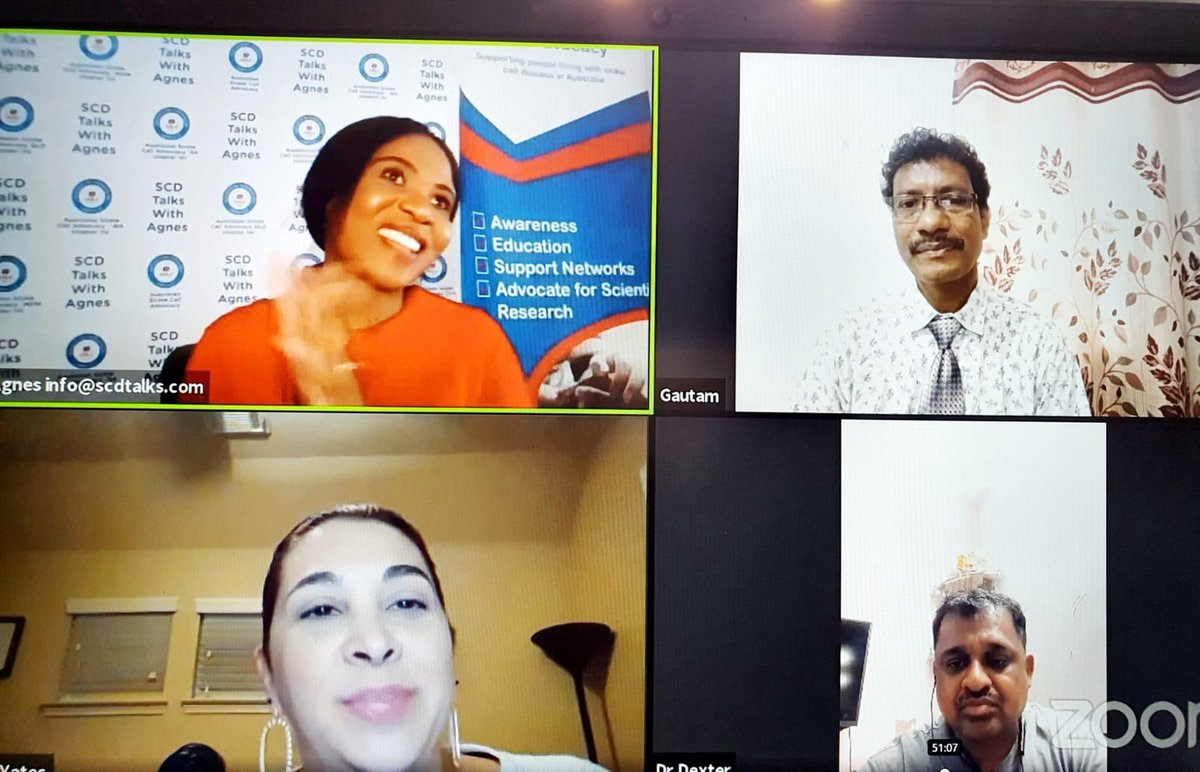 A very informative session today during this #SCDAwareness #Month. Thank you  @sicklecelldoc for doing an educational session on hydroxyurea on behalf of @AuSickle Thank you @awareness_cell & @GN_Gautam.  #InThisTogether #SCDAwareness https://t.co/jItyVKa8Ln