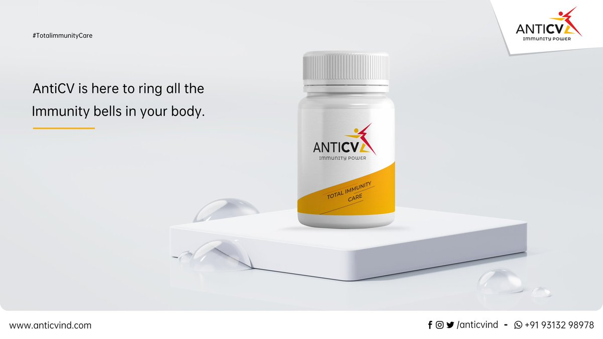 "Your total Immunity care ""AntiCV"" is ring all the bells of your Immunity!! #AntiCV #ImmunityCare #StayImmune #StayStrong  AntiCV is now Available on Amazon :  Adults: https://t.co/P6vG3jDZCP Kids: https://t.co/Ha43S1hIr6 https://t.co/QyN4ZhPoAr"