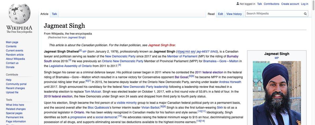 "Something weird is going on. Someone changed Jagmeet Singh's name on Wikipedia to ""Jagmeat"" Singh. #NDP #Canada #cdnpoli #JagmeetSingh https://t.co/xx1YBW2vdB"