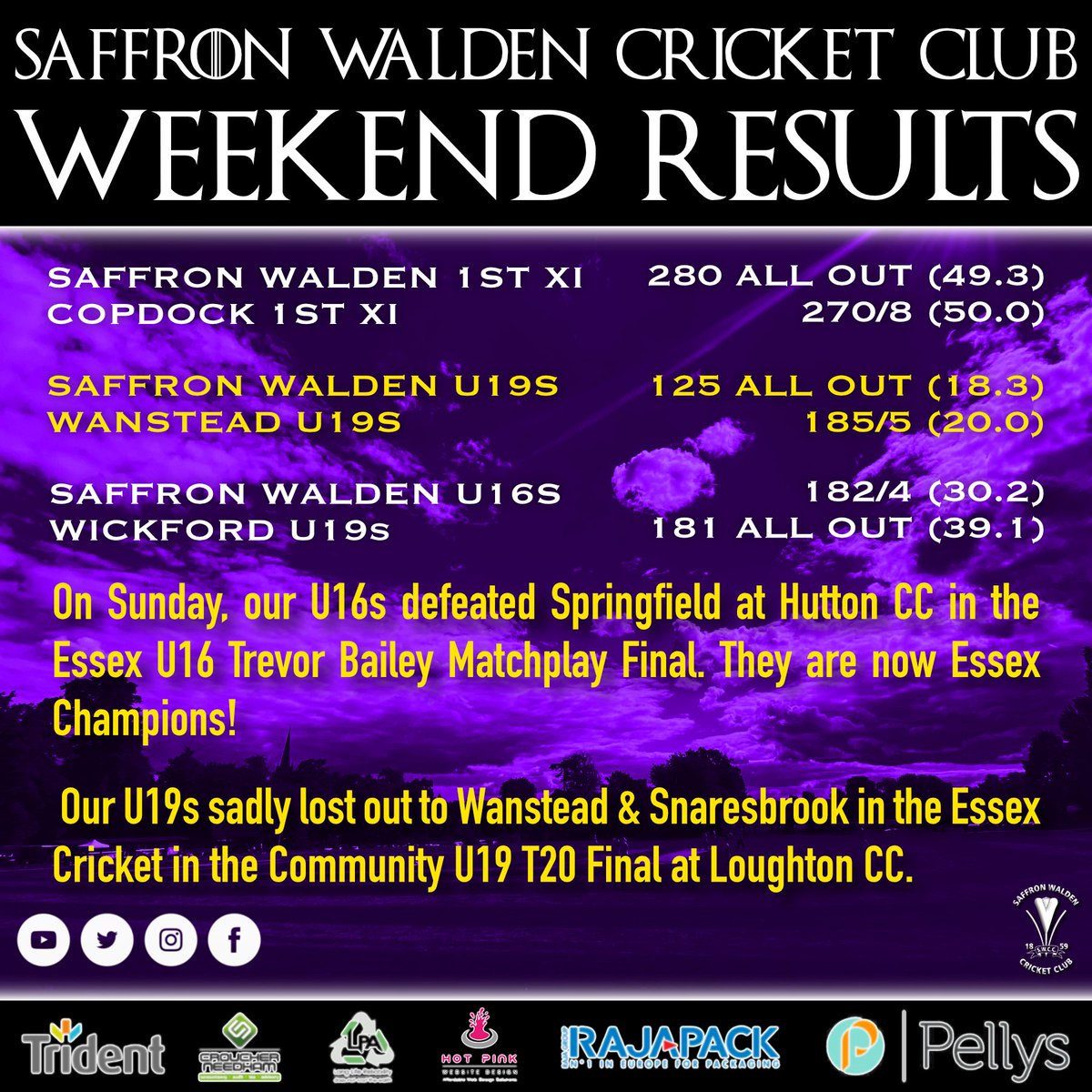 Weekend results! Great wins for the 1st XI and the new U16 Essex Champions! #crocuscricketcommunity #saffronwalden #cricket https://t.co/pxZxRMaoms