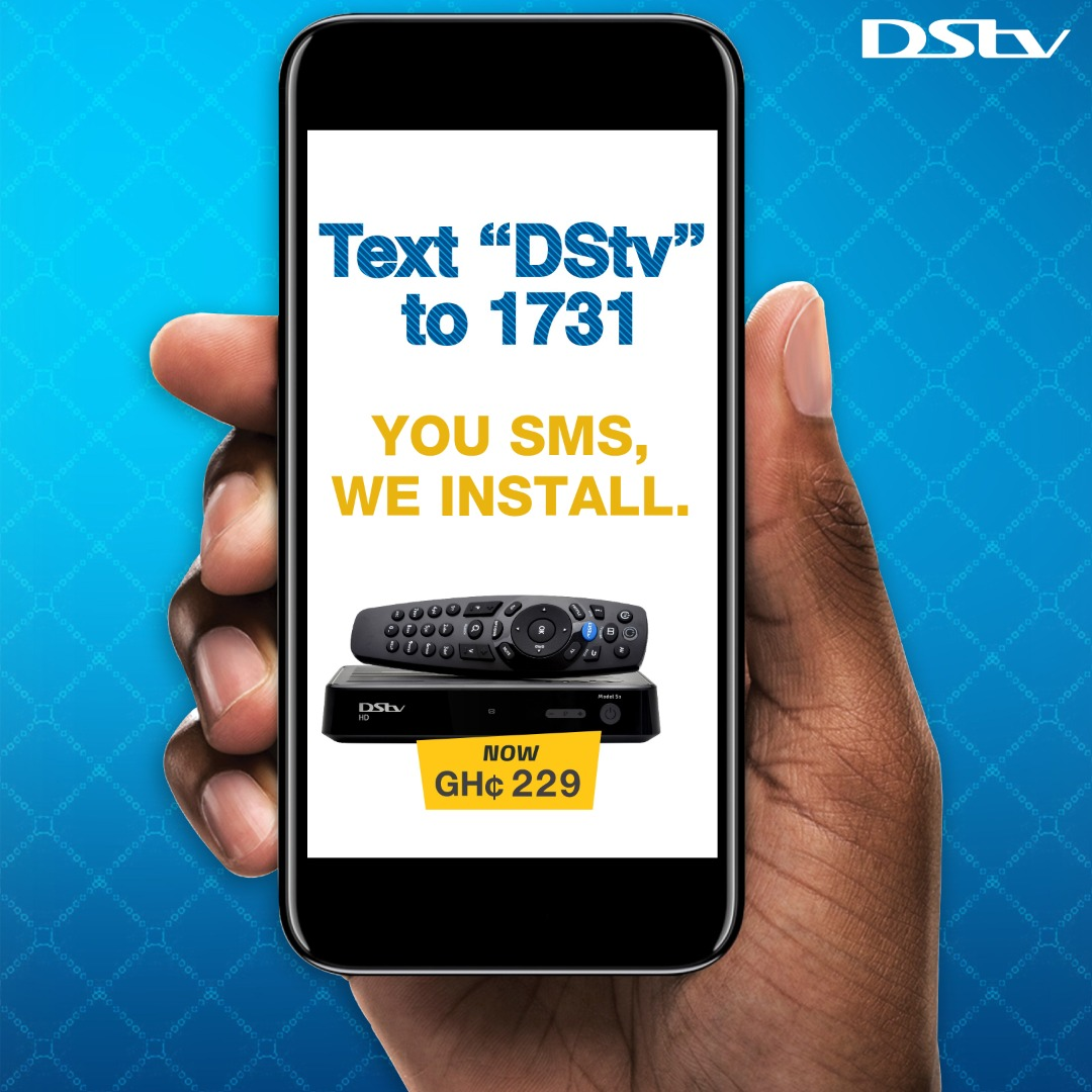 """Do you need a DStv? Get a fully installed DStv Zapper HD decoder plus one month of Access package for only Ghc229. No need to step out. Simply SMS """"DStv"""" to 1731 and we will call you to begin the sales and installation process. https://t.co/npDi60E1uq"""